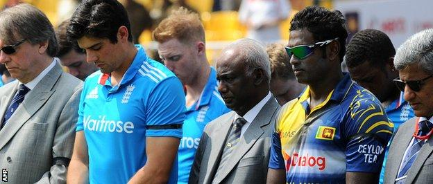 England and Sri Lanka held a two minutes silence for Phillip Hughes before their one-day international in Colombo