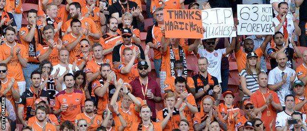 Fans applauded in the 63rd minutes of the A-League match between Brisbane Roar and Perth Glory in Brisbane