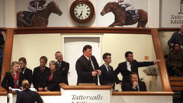 Auctioneer in action at Tattersalls