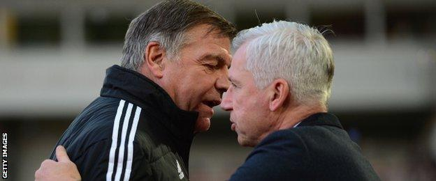 West Ham manager Sam Allardyce (left) and Newcastle counterpart Alan Pardew