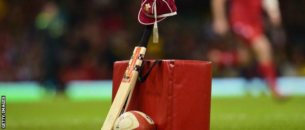 A cricket bat and Welsh cap were put out in memory of Phillip Hughes before the Autumn international match between Wales and South Africa at Millennium Stadium