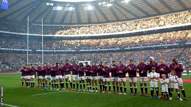 England and Australia held a minutes applause for Phillip Hughes before their match at Twickenham