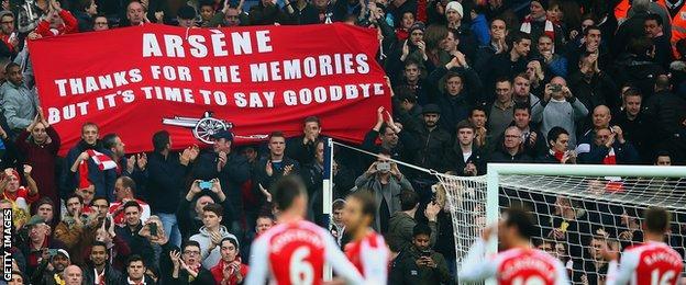 Arsene Wenger out banner