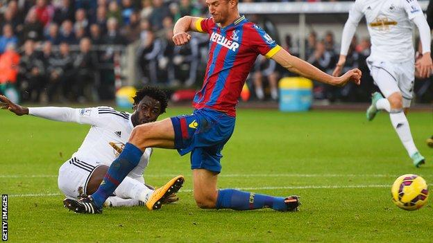 Wilfried Bony scores for Swansea