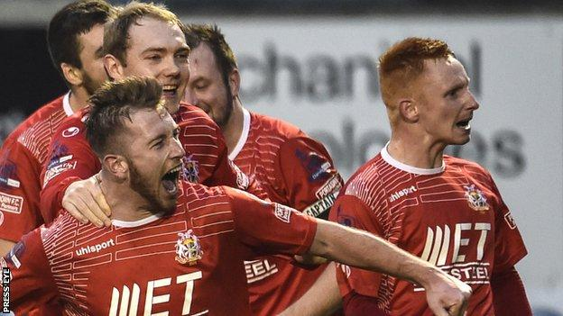 Mark McAllister celebrates after scoring for Portadown against Glentoran
