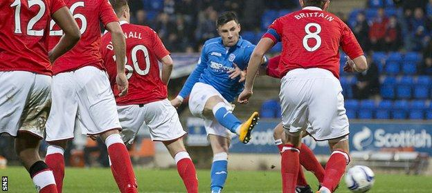 Michael O'Halloran lashes in the opening goal as St Johnstone got off to the perfect start.