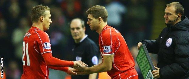 Liverpool captain Steven Gerrard (right) came off the bench after 75 minutes