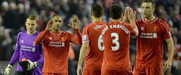 Liverpool celebrate after a win over Stoke