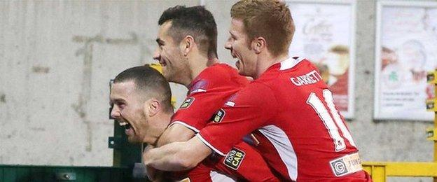 Martin Donnelly celebrates putting Cliftonville ahead against Ballymena