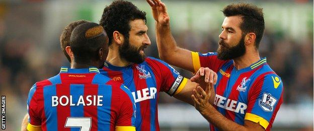 Crystal Palace celebrate Mile Jedinak's equaliser