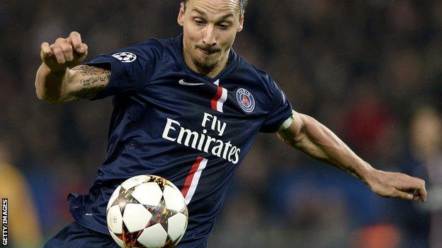 Paris St Germain striker Zlatan Ibrahimovic