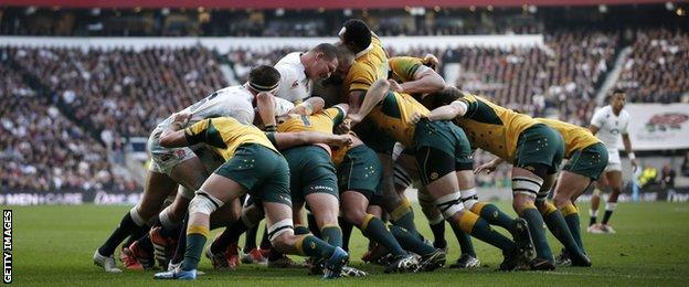 England and Australia pop up at a scrum on Saturday