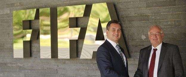 Fifa investigator Michael Garcia (left) and Fifa's independent ethics adjudicator Hans-Joachim Eckert