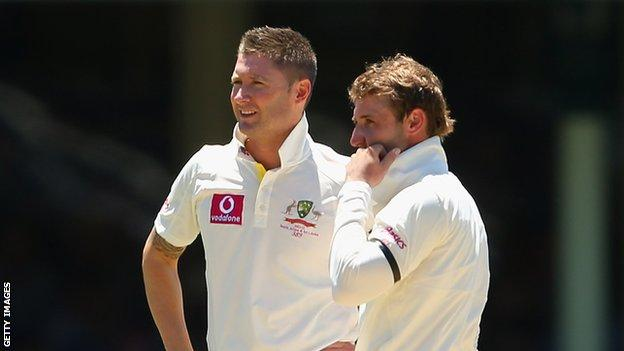 Michael Clarke (left) and Phillip Hughes
