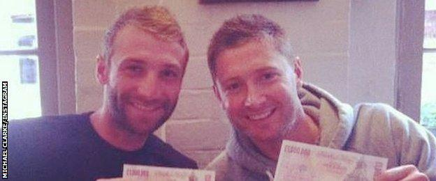 Phil Hughes (left) and Michael Clarke