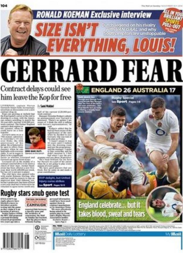 Sunday's Mail on Sunday back page