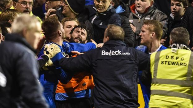 Matt Hazley of Dungannon and Glenavon's Gary Hamilton were among the players involved in a fracas at the end of the match at Stangmore Park