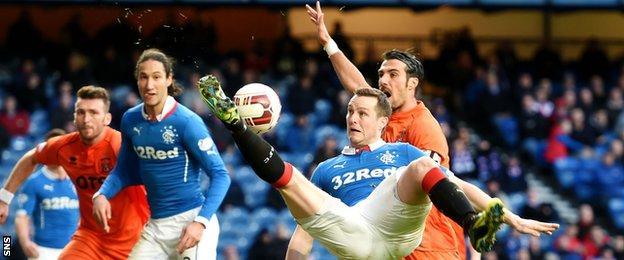 Rangers striker Jon Daly attempts some acrobatics in the Kilmarnock box