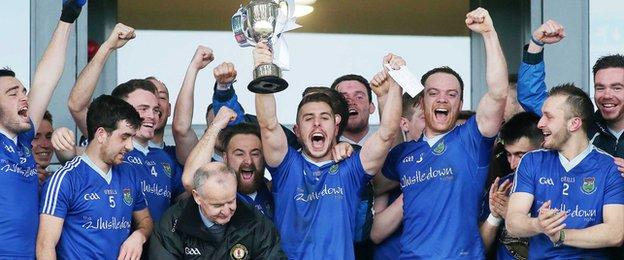 St Peter's of Warrenpoint lifted the 2014 Ulster Intermediate football crown by beating Inniskeen 1-14 to 1-07
