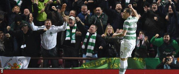 Anthony Stokes celebrates after drilling Celtic into a commanding lead.