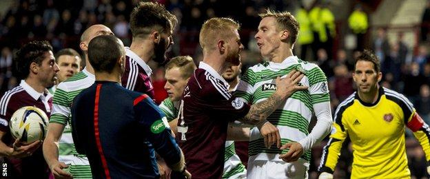 Hearts players were aggrieved at the decision to award an early second half penalty.