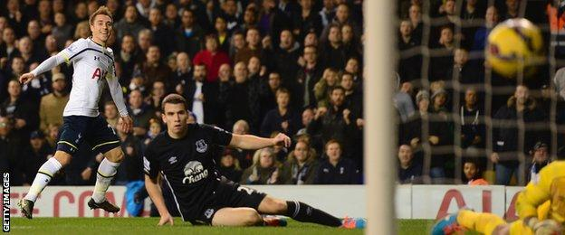 Spurs' Christian Eriksen scores against Everton
