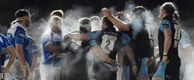 The Glasgow and Dragons players let off steam at Scotstoun