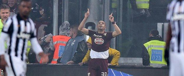 Bruno Peres celebrates his first Serie A goal but it was enough to earn a point for Torino