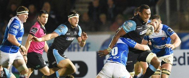 Glasgow Warriors Leone Nakarawa is tackled by James Benjamin