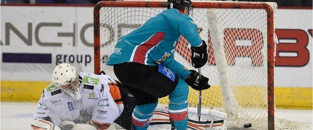 Evan Cheverie scores in the shootout to secure victory for Belfast Giants