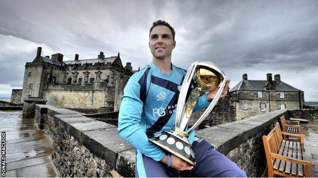 Scotland captain Preston Mommsen with the Cricket World Cup