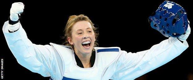 Jade Jones celebrates winning 2012 Olympic gold