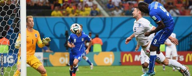 Mario Balotelli scores against England