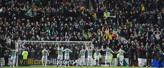 Celtic celebrate with their fans at Tynecastle
