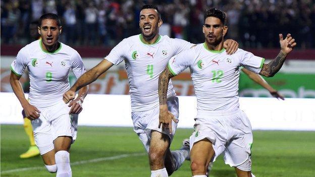 Algerian players celebrating
