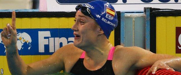 Mireia Belmonte sets a new world record