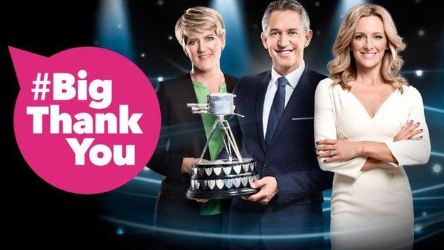 graphic with Clare Balding, Gary Lineker and Gabby Logan holding the Sports Personality of the Year award