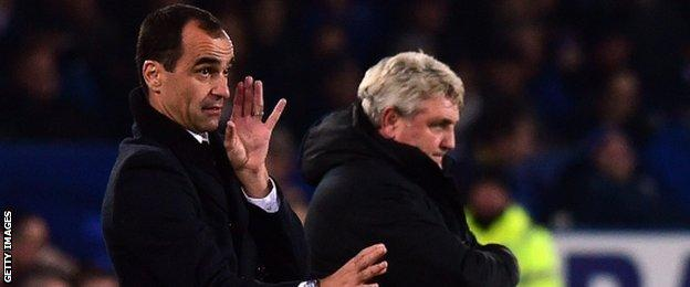 Everton manager Roberto Martinez and Hull manager Steve Bruce