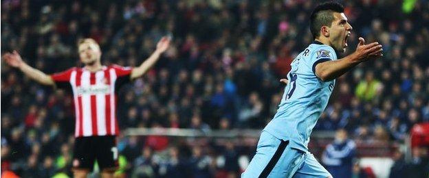Sergio Aguero celebrates scoring for Manchester City against Sunderland