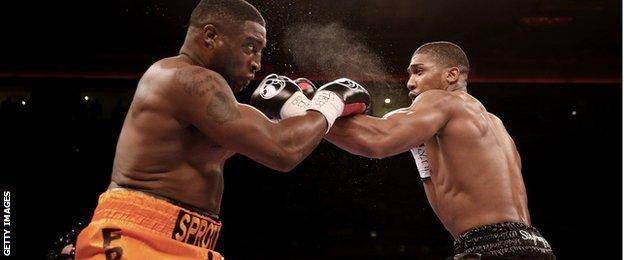 Anthony Joshua (right) and Michael Sprott