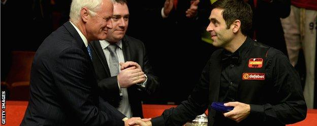 Barry Hearn with Ronnie OSullivan at the World Snooker Championship in Sheffield