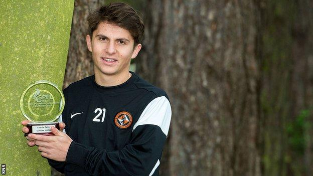 Dundee United's Charlie Telfer with his SPFL award