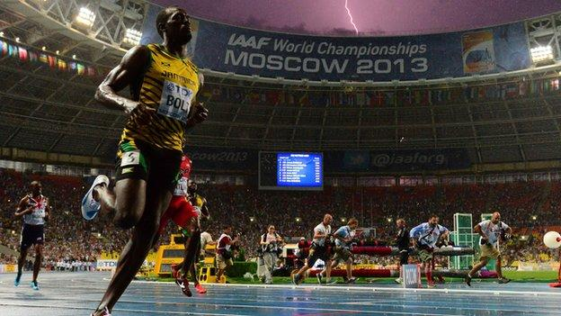 """Jamaica""""s Usain Bolt wins the 100 metres final at the 2013 World Championships in Moscow"""