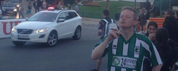 Jeff Young in his Blyth shirt at the Monaco grand prix