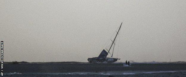 The grounded Team Vestas Wind