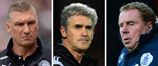 Leicester manager Nigel Pearson, West Brom head coach Alan Irvine and QPR boss Harry Redknapp