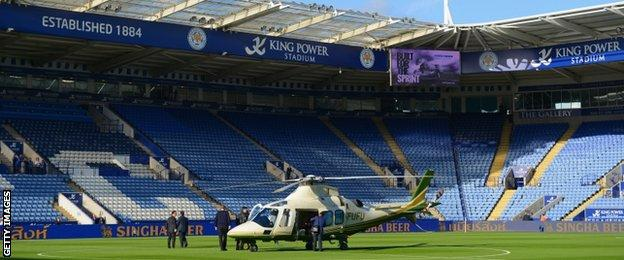 Leicester owner Vichai Srivaddhanaprabha travels to and from home games by helicopter, which he lands on the pitch