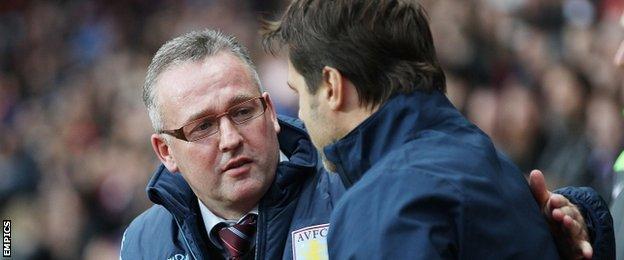 Aston Villa manager Paul Lambert and Spurs boss Mauricio Pochettino