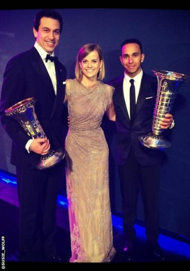 Toto Wolff, Susie Wolff and Lewis Hamilton