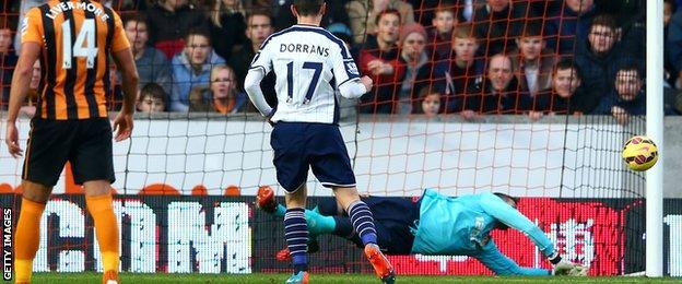 Allan McGregor saves a penalty from Graham Dorrans